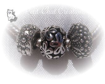 3 CHARMS beads rings flowers METAL silver 12mm compatible snake * E217