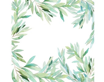 Watercolour Leaves Frame Background Clip Art Graphic Design PNG High Resolution B155