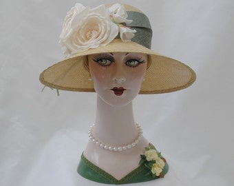 1920s Straw Hat, Garden Hat, Flapper