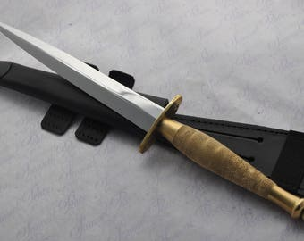 Genuine Authentic Type 2 J Nowill & Sons Fairbairn-sykes Black and Brass Commando Knife Sheffield England