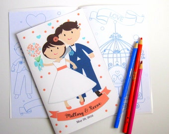 6 Wedding Coloring Books, Children's Activity Booklet , Personalized Party Favors, Bride Groom Coloring Book  A1276
