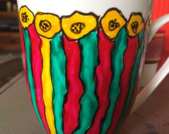 FREE POST Contemporary bespoke floral mug in pink green and yellow