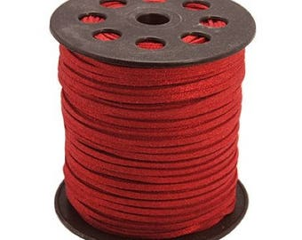 Suede cord - 2 meters - red with red glitter