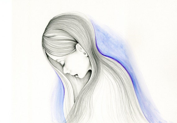 Sad Girl Painting Watercolor Painting Pencil Drawing Fine Art