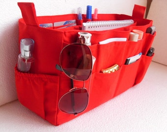 Extra large size Purse organizer  with laptop padded case - Bag organizer insert in Red fabric
