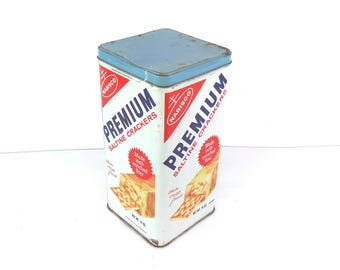 Vintage Nabisco Premium Saltine Cracker Tin, Vintage Kitchen Tins, Vintage Food Tins