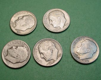 5 Pcs Different US Silver Dimes for Ten American Dollars<> Great Survival Money <> The Coins you see are the coins you get<> # ET2219