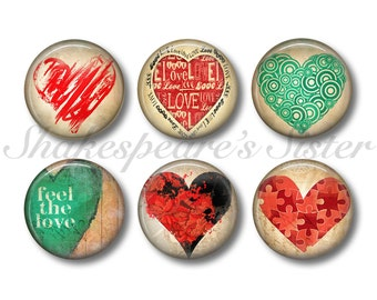 Grungy Heart Magnets - Fridge Magnets - Love Magnets - 6 Magnets - 1.5 Inch Magnets - Kitchen Magnets