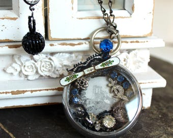Ancient places Pocket watch Assemblage Necklace shadowbox lingerie pin shriners sword Victorian ephemera  statement bridal  jewelry pendant