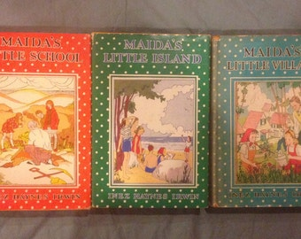 Maida's Little  School, Village, Island by Inez Haynes Irwin in Dust Jackets. First Editions?