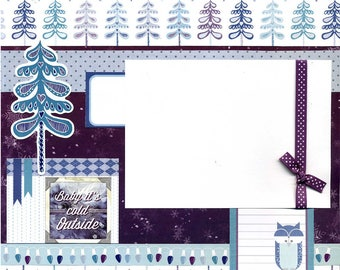 Premade Winter Scrapbook Page - Baby It's Cold Outside