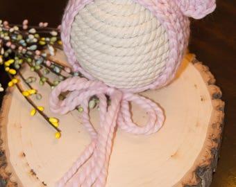 Hand Crochet Newborn Bear Bonnet/Pink/Turquoise Blue/Tan/Chocolate/Caramel/Photo Prop