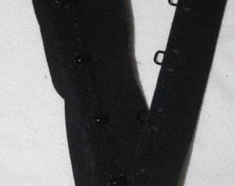 "1 yard Black Velvet Velveteen Metal hook eye tape Corset closure 1.5"" wide"
