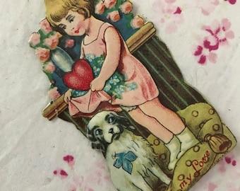 Antique Vintage valentine Little girl Pink Dress Dog with Blue Bow
