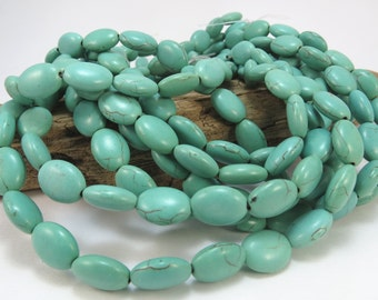 Magnesite Beads, Light Teal Green, Puffed Oval 14x10mm Beads, 15 inch Strand, Designer Quality, Item 858gsm