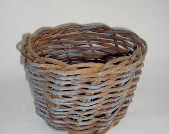 Vintage Basket Blue Grapevine Rustic Country Primitive Decor Planter
