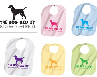 Funny Baby Bib, Baby Shower Gifts, Dog Did It