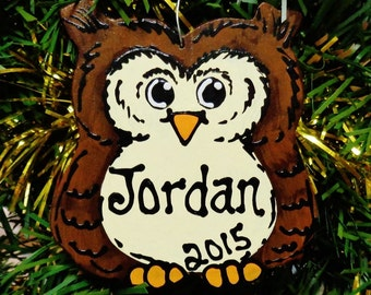 U CHOOSE Name and Year Personalized OWL Christmas Hoot Owl ORNAMENT Holiday Decor Wood Wooden