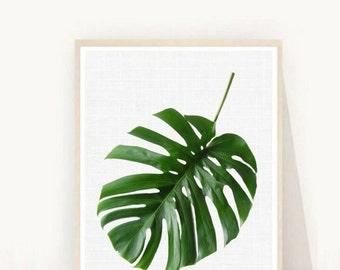 Tropical Leaf Print, Monstera Print, Printable Art, Palm Art Print,  Minimalist Art, Textured,  Instant Download, Wall Decor