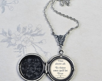 To Thine own Self be True locket, Shakespeare quote locket graduation gift for graduate inspirational quote literary quote photo locket