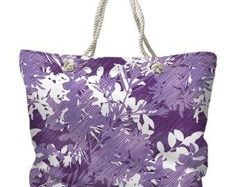 Maui Gem Tote Bag, Purple Floral Tote Bag, Tropical Tote Bag, Island Carryall, Purple Beach Bag, Hawaiian Beach Bag, Island Resort Tote