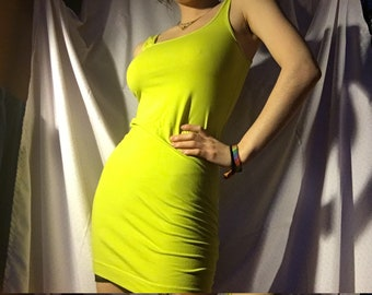 slim bright neon 90s dress