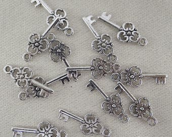 12 shape bc136 antiqued silver metal key charms