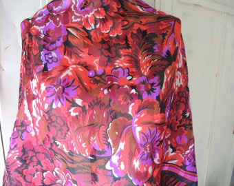 Vintage  polyester scarf slightly sheer abstract floral  17 x 60 inches