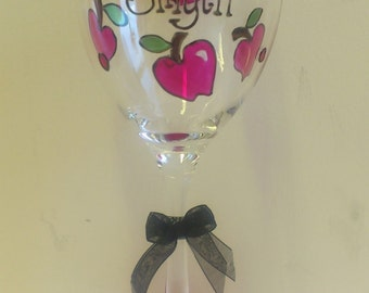 Teacher Wine Glass Gift Personalised Hand Painted with Apple design by Luci Lu Designs