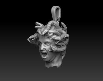 Medusa Gorgon pendant, Mythology jewelry, Snake jewelry, Greek jewelry