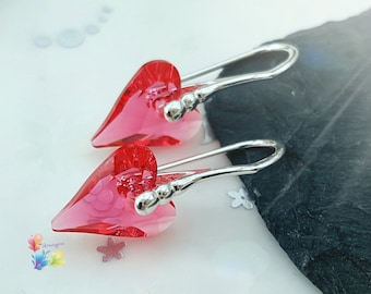 sterling silver crystal earrings, crystal heart earrings, Indian Pink Crystal Wild Heart Earrings, valentines day gift