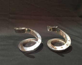 2 Dansk silver spiral candle holders, Design with light, Silver plated, Tiny taper candle holder, Mid Century modern candle holder, Set of 2