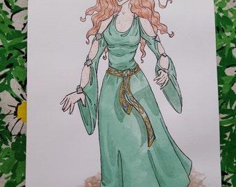 Ariana - Charakter-Design - Kunst-Aquarell-Originalzeichnung von Comic-Illustration
