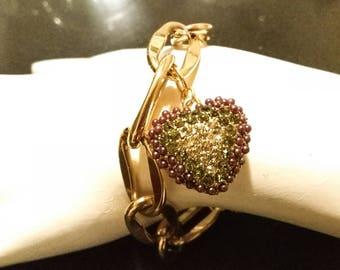 Vintage Gold Bracelet with Rhinestone Heart Charm