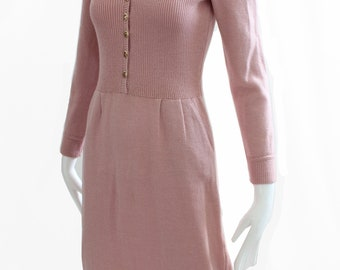 Vintage St John by Marie Gray Pink Knit Dress Size M 1970s