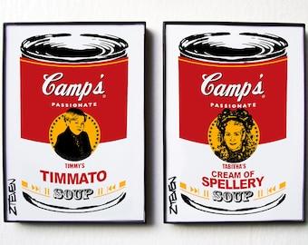PASSIONS Tabitha and Timmy Pop Art Soup, original framed art set by Zteven