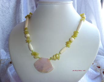 Genuine JADE gemstones and bone necklace