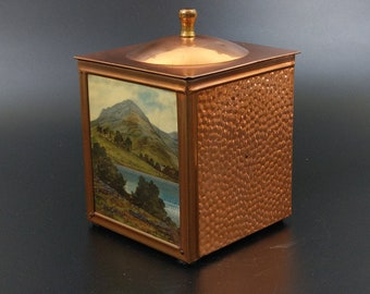 Copper Tea Caddy 1950's box with Country Scene