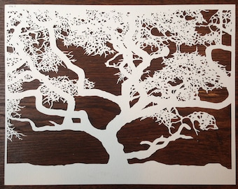 Trees 3 -- Hand-Cut Paper Silhouette of Tree