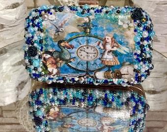 Alice in wonderland clutch bag crystals pearls roses wedding prom designer bag