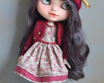 Handmade dress +  jacket +shoes + hat for Blythe and Pullip outfit