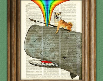 Kujira the Shiba Inu dog protects the homeland from evil whalers with love, rainbows, and her harpoon. Doge dictionary page book art print