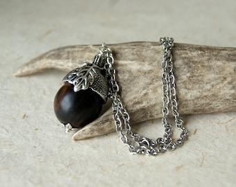 Acorn Necklace - Wood Acorn Pendant with Silver Acorn Cap