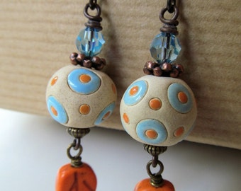 Blue and Orange Handcrafted Beads with Fall Leaves Beaded Niobium Earrings - Autumn