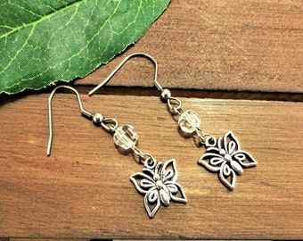 BUTTERFLY EARRINGS with Swarovski crystals - surgical stainless steel ear wires - nonallergenic hypoallergenic sensitive ears