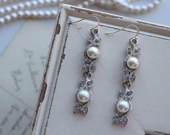Art Deco Earrings Great Gatsby Earrings Pearl Earrings Vintage Style Earrings  Downton  Abbey Earrings Art Nouveau  Style Jewelry