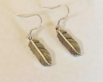 Silver Feather  Earrings Western Cowgirl Jewelry Feather Earrings Boho Southwestern Jewelry hypoallergenic wires