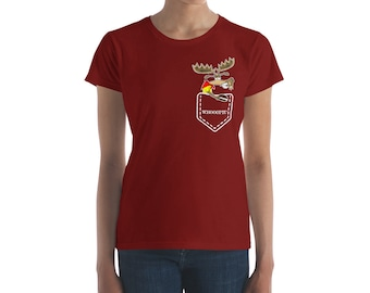 Moose in Pocket  Eating a Whoopie Pie - Moosing Around - Women's short sleeve t-shirt