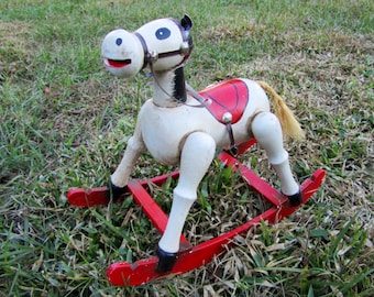 Vintage Enesco Toy Rocking Horse, red and white toy horse