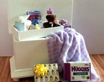 Miniature One Inch Scale Filled Lavender Baby Trunk